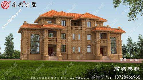 大户型双复式的欧式双拼三层别墅外观设计效果
