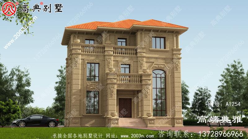 欧式石材复式三层别墅房屋设计图,含外型设计效果图