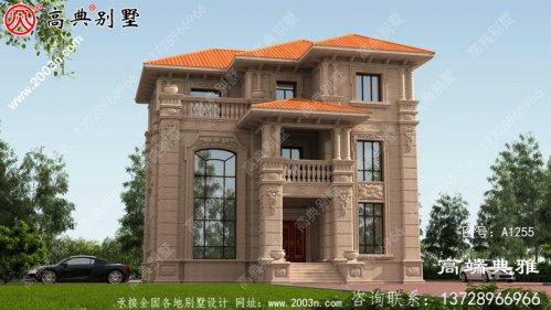 复式三层欧式石材别墅住宅设计图,包括外观效
