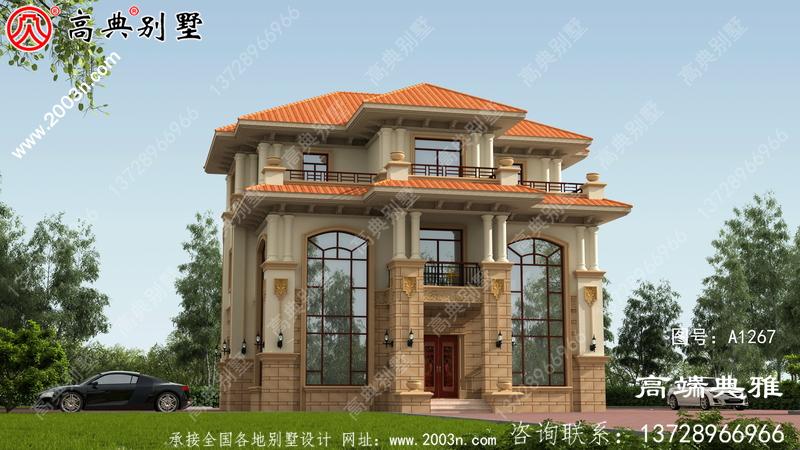 138平新乡村三层房屋设计图,含外型设计效果图
