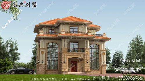 农村欧式双复式三层住宅设计图,
