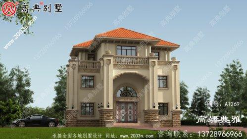 130平新农村三层住宅设计图、外观效果图