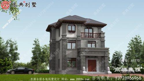 中式三层农村小别墅设计图,占地97平米