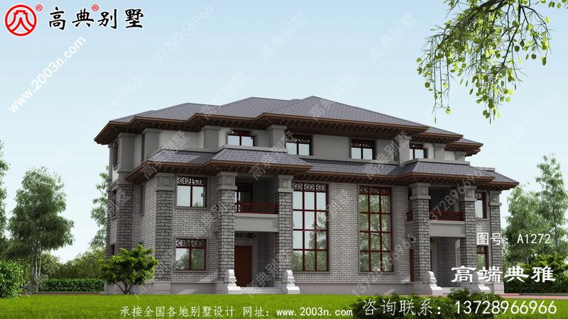 中式双拼三层别墅设计图纸,户型简单合理实用