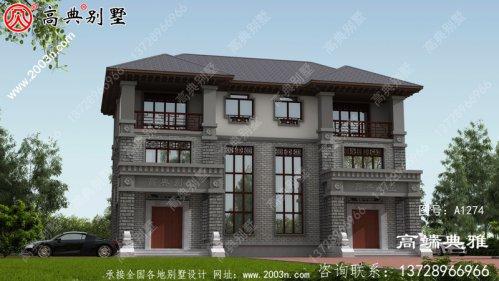 高端中式双拼三层别墅设计图纸配复式大厅