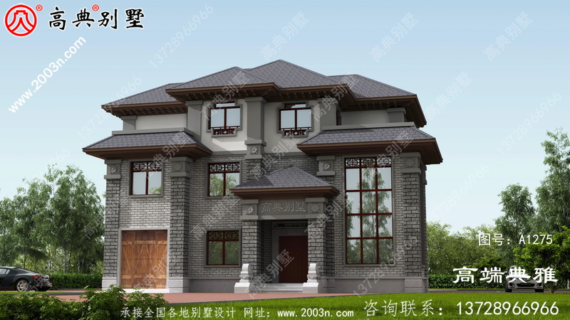 新中式三层别墅设计图,复式大厅设计带车库
