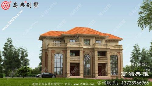欧式双拼三层别墅的住宅设计图带露台