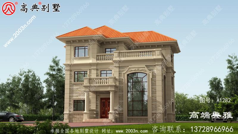 带露台的欧式三层新农村自建房屋设计图