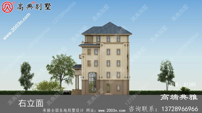 豪华双复式大厅五层新农村住宅设计图