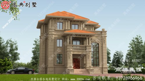欧式石材三层房屋设计图 ,古香