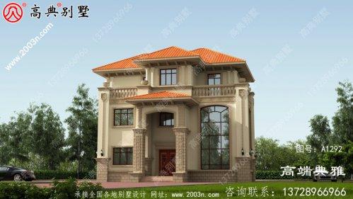欧式三层独栋别墅设计图纸带效果图,全套施工