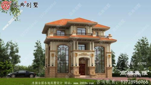 带露台的欧式三层别墅外观设计效果图,施工方