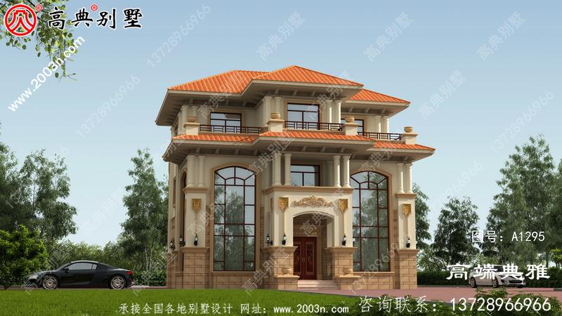 带露台的欧式三层别墅外观设计效果图,施工方案一套