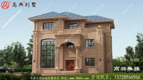 欧式石材三层楼房设计图,带外型