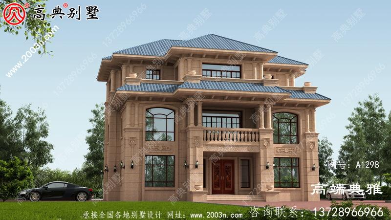 农村欧式石材三层住宅设计图,新型户型