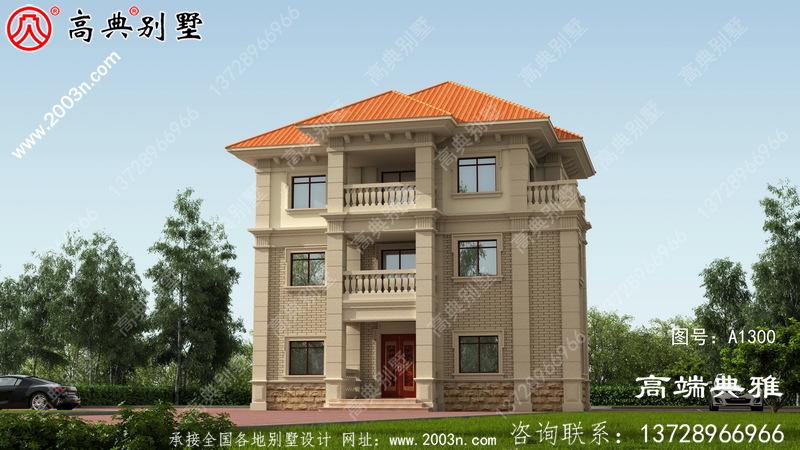 简欧三层农村建筑设计图,外观效果图。