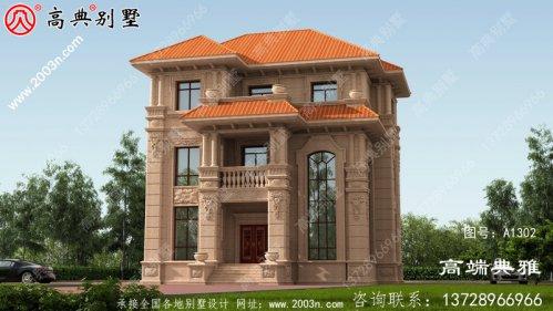 117平方米欧式石材三层自建房屋设计图纸