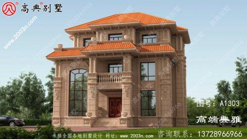 欧式石材三层自建住宅设计图纸,