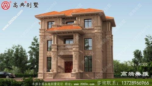 欧式石材三层别墅设计效果图,占