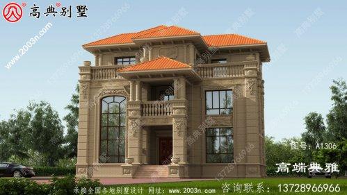 豪华欧式石材复式三层别墅设计效果图