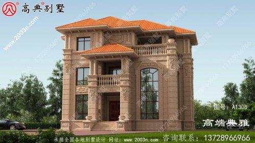 奢华欧式石材三层农村别墅设计图纸,大厅复式