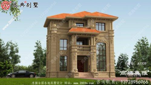 带露台的欧式石材三楼农村别墅设