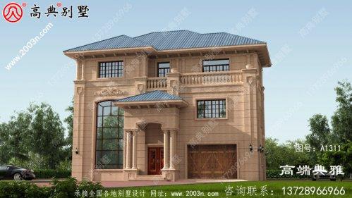 占地183大户型欧式石材三层别墅设计图,农村自