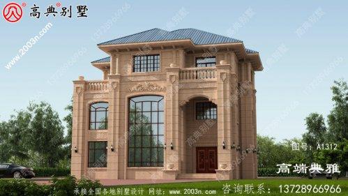 欧式石材三层别墅房屋设计图,含实际效果照片
