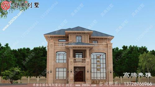 对称设计的欧式石材三层别墅住宅