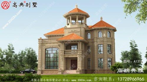 豪华欧式三层别墅房屋设计外观效果图