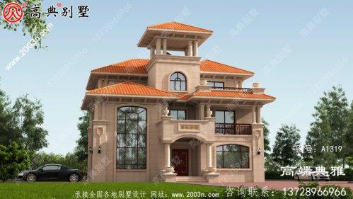 177平奢华欧式三层农村楼房设计图及效果
