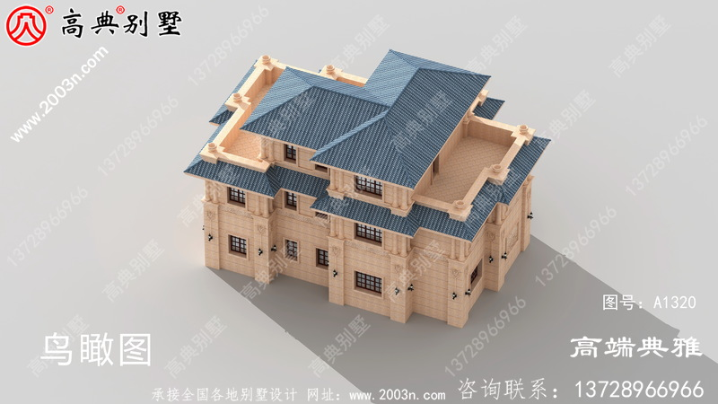乡村欧式石材三层别墅设计外观效果图带阳台