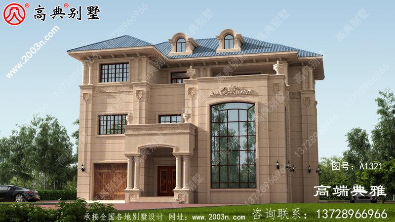 复式设计的欧式石材三层住宅设计,包括外观图片