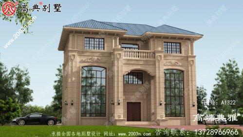双复式大厅欧式三层别墅设计图纸,外型设计效