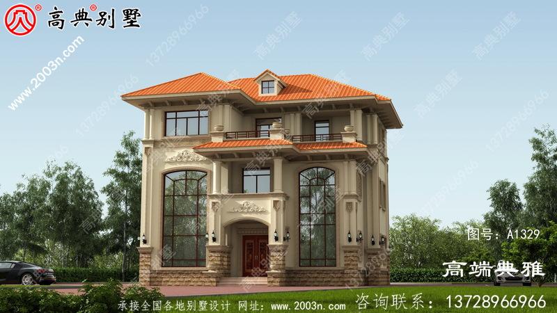 好看好用三层新农村小别墅设计图,占地面积123平方米