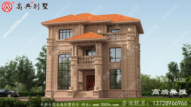 美丽实用的欧式石材三层新农村别墅设计图纸