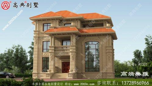 欧式石材三层新农村小别墅设计图