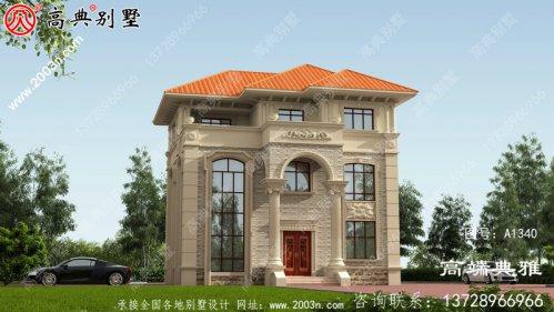 复式三层别墅设计图(效果图一套cad建筑图)