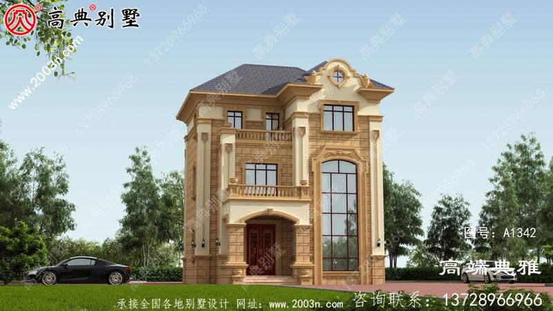 客厅复式设计的小户型欧式别墅住宅设计,占地93平