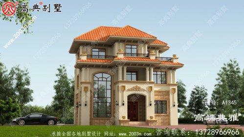 新农村三层自建住宅设计面积111平方米