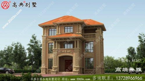112平米三层别墅设计图纸,欧式古典带外型设计
