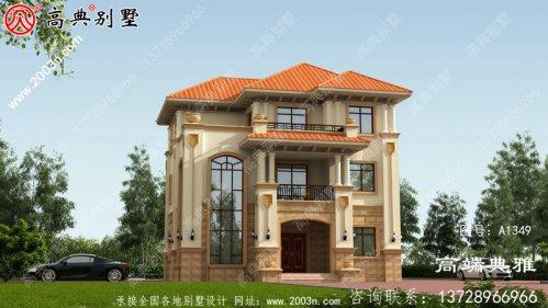 三层别墅设计图,欧式带外观效果图