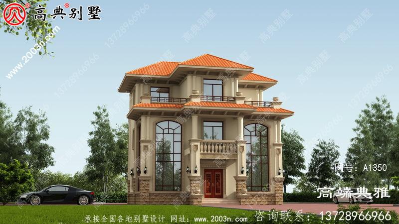 双复式欧式三层房屋设计图纸,外型简易大气