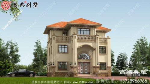 带露台的欧式三层住宅的设计图纸外观简洁大方
