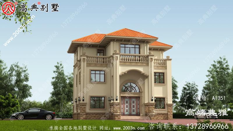 带露台的欧式三层住宅的设计图纸外观简洁大方。