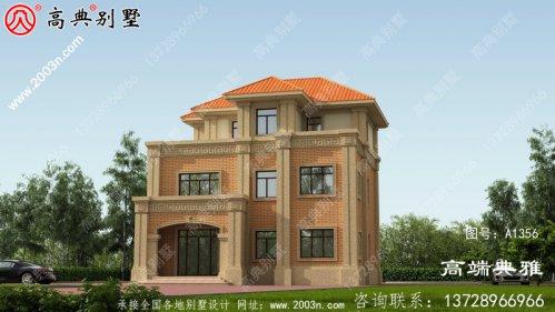 经典实用的欧式三层别墅设计图纸,带露台