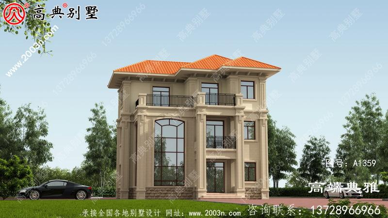 三层欧式自建住宅设计图纸,复式大厅设计带露台