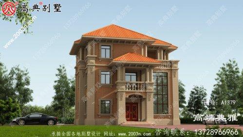 简欧风格三层别墅建筑设计图纸,小复式楼中楼
