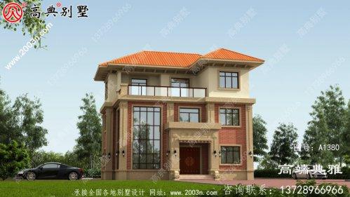 欧式三层别墅建筑设计,复合建筑中层结构带露
