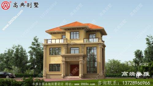 欧式三层别墅建筑设计图,复式大厦中层